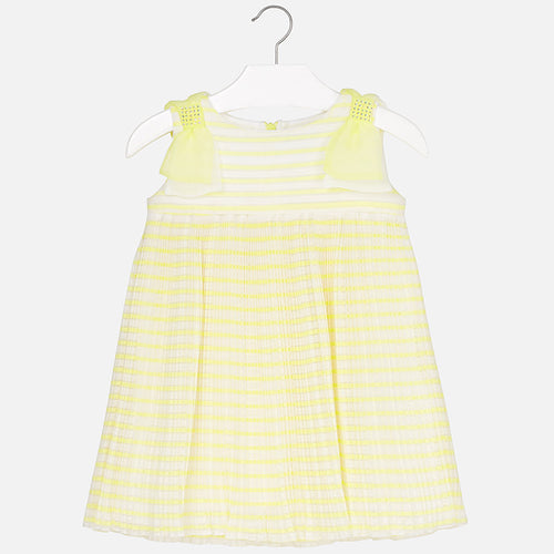 Girls Pleated Bow Dress
