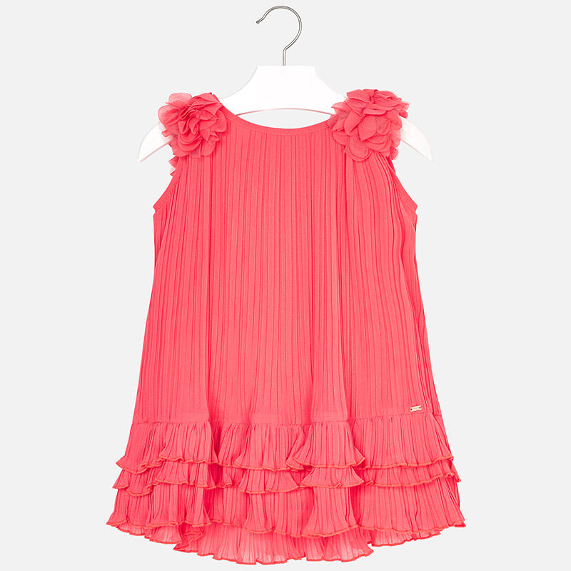 Pleated Dress With Ruffles For Girl