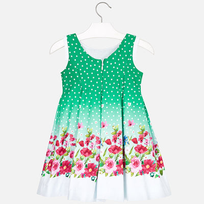 Polka Dot Dress With Floral Border For Girl