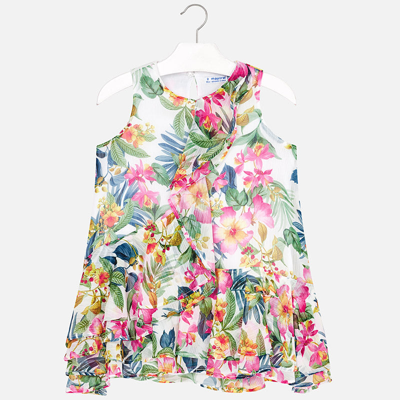 Tropical Patterned Dress For Girl