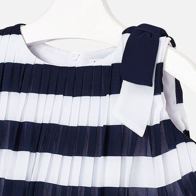 Pleated Striped Dress For Girls