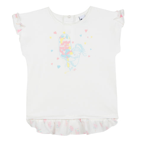 Short Sleeved Print Sequin T-Shirt For Girl