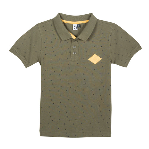 Boys Polka Dot Printed Polo Shirt