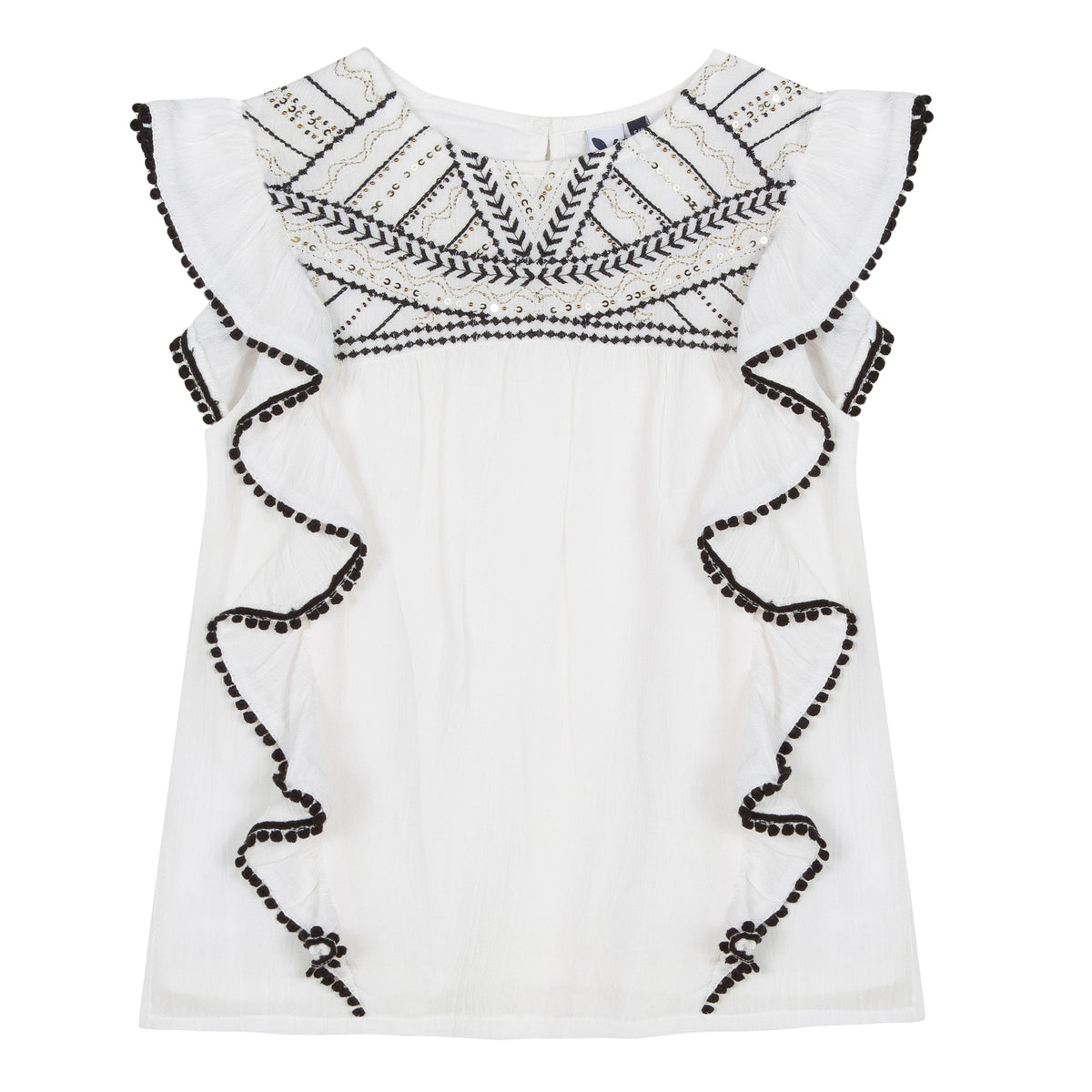 Girls Crepe and Embroidery White Top