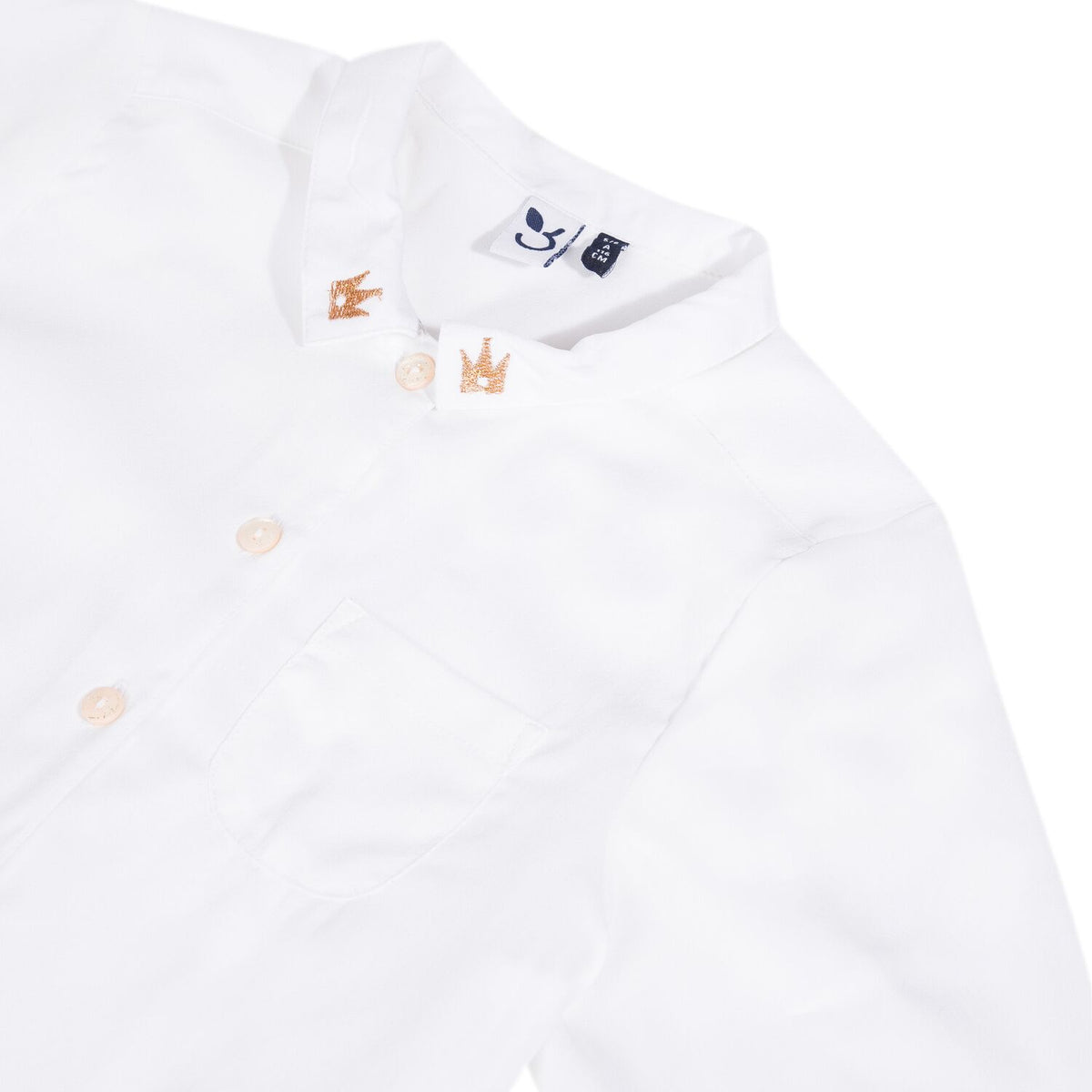 Girls White Dress Shirt with Crowns