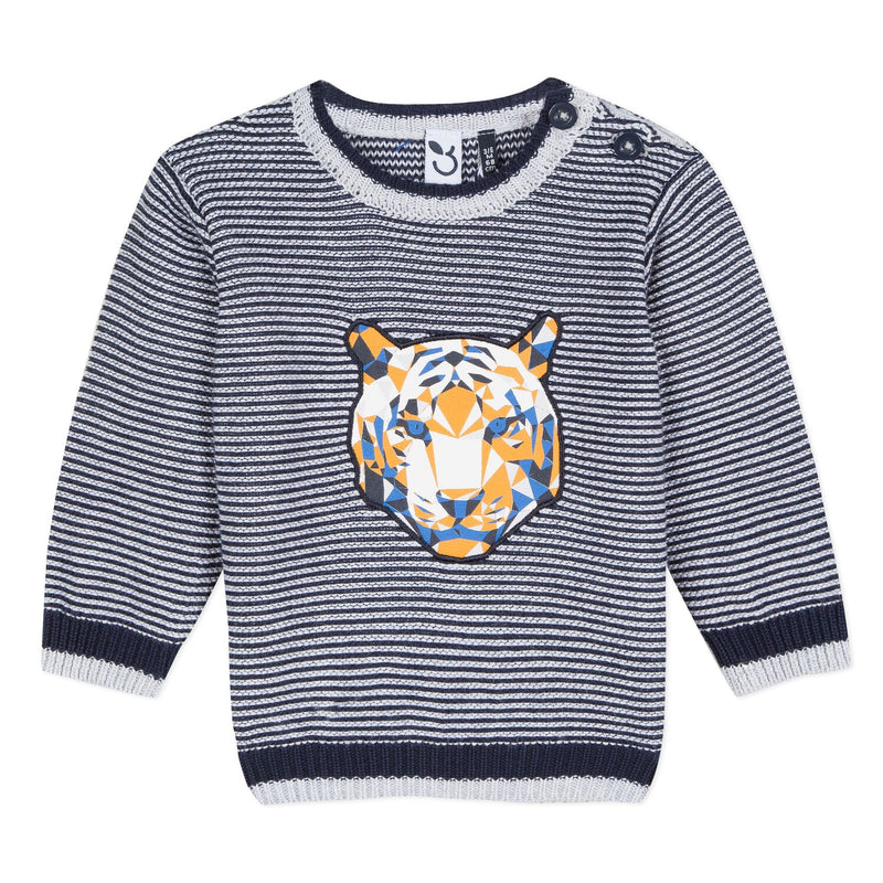 Boys Mosaic Tiger Face Sweater