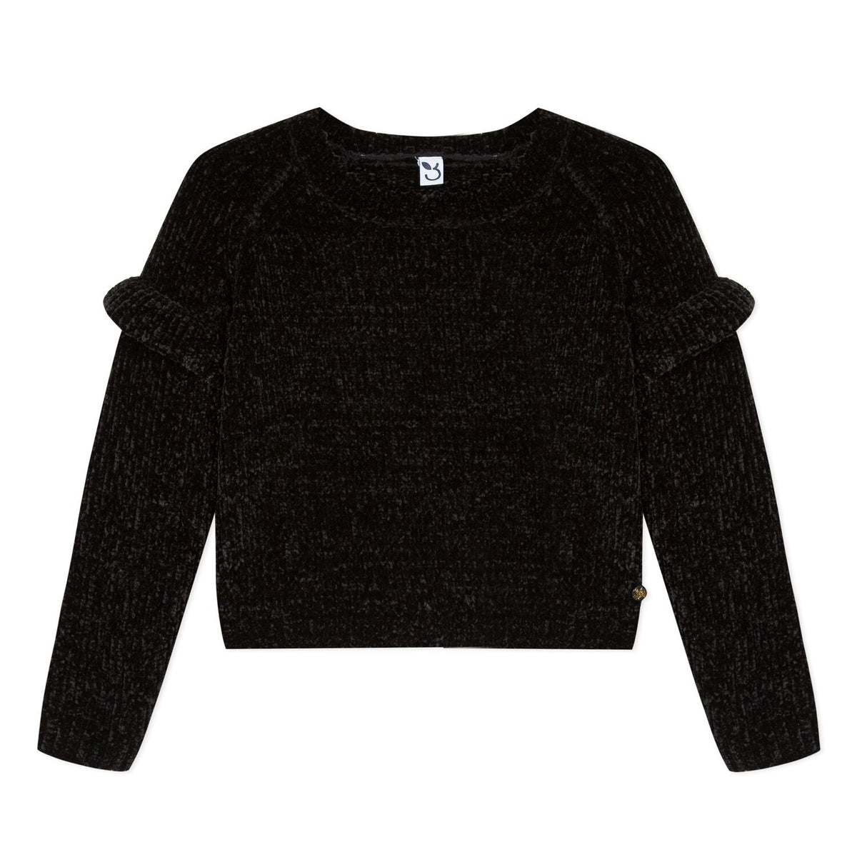 Girls Black Pullover Sweater