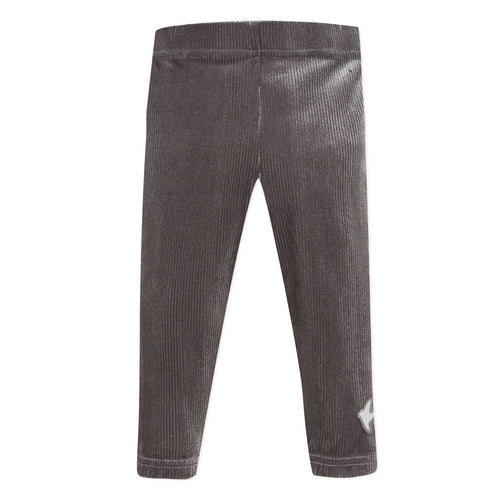 Girls Grey Velour Leggings