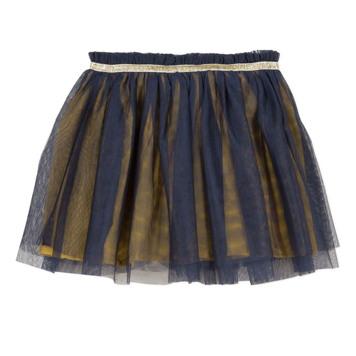 Girls Gold and Navy Fancy Tulle Skirt