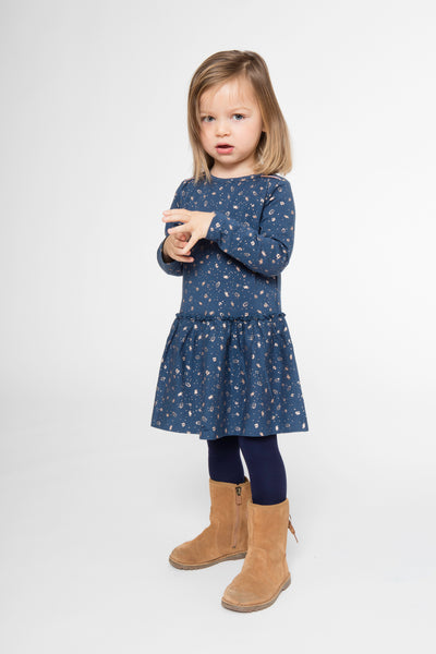 Baby & Toddler Girls Blue And Copper Patterned Printed Dress