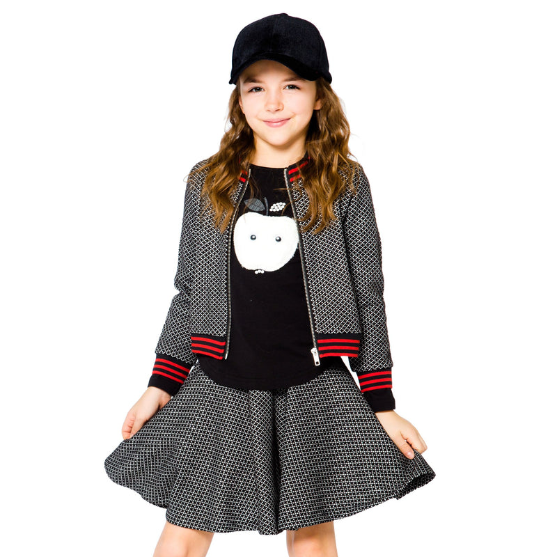 Girls Black And White Preppy Zip Up Jacket