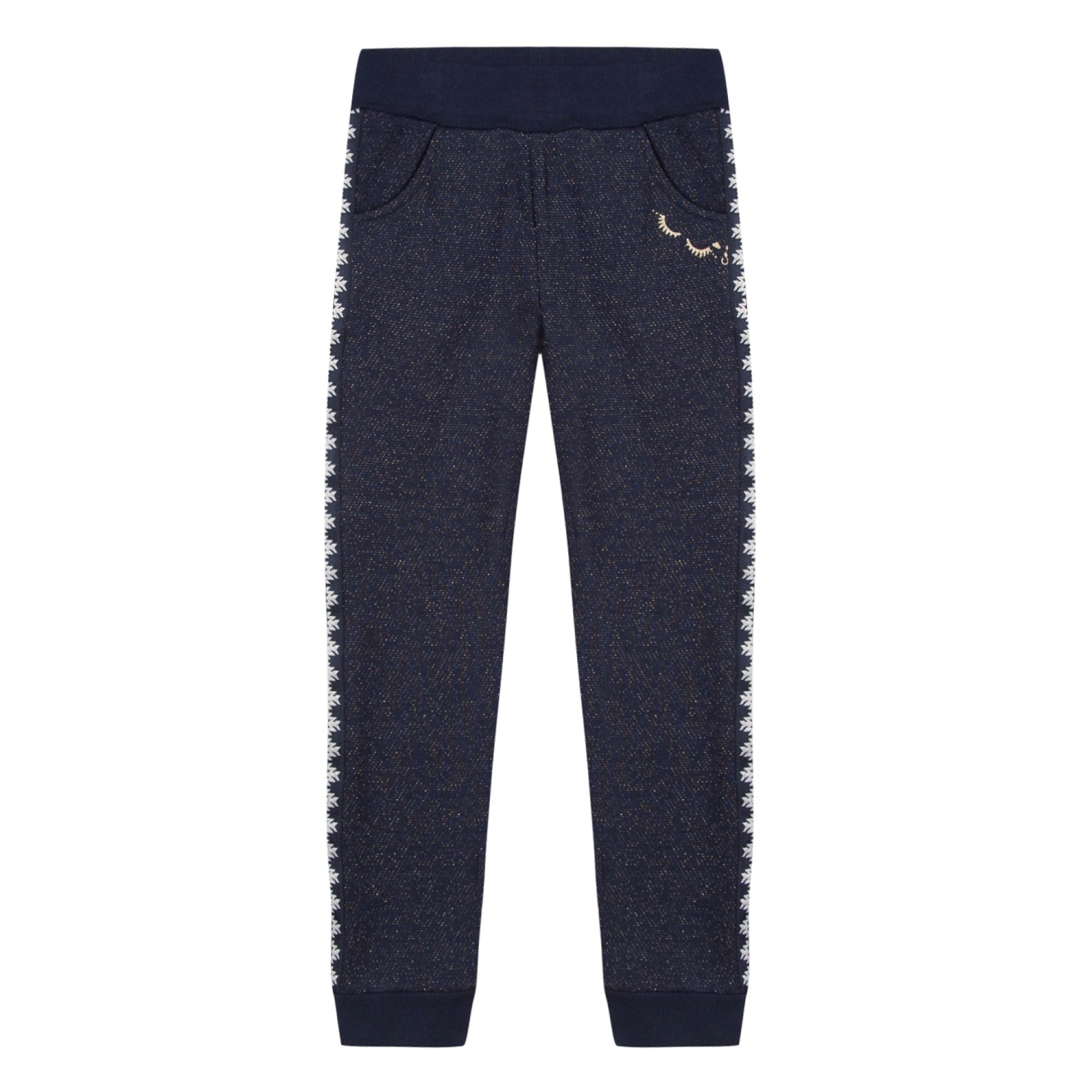 Girls Embroidered Navy Joggers