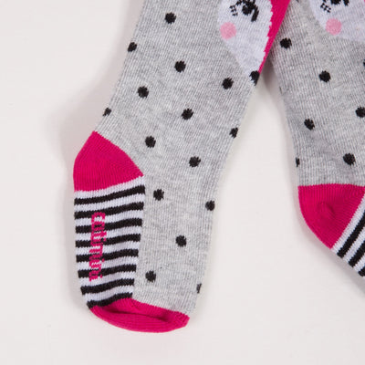 Warm and ultra-soft knitted tights with polka dots and stripes. Catimini jacquard signature on the sole. with a sweet fox on the front