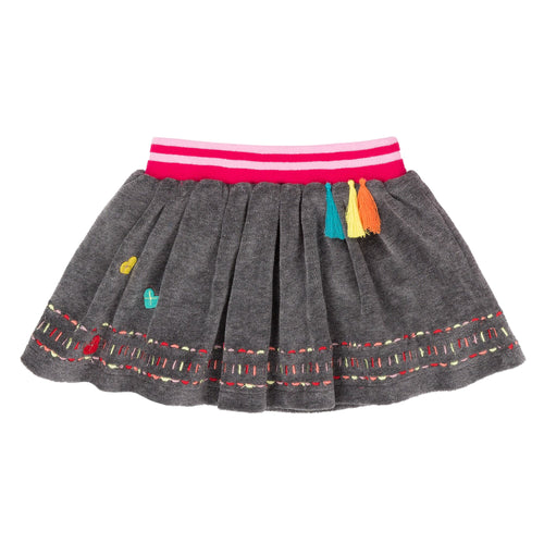Girls Grey Owl Velours Skirt