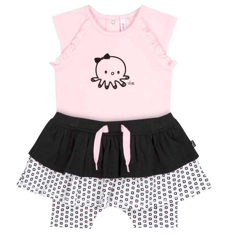 Light Pink Bodysuit With Octopus And Skort Set