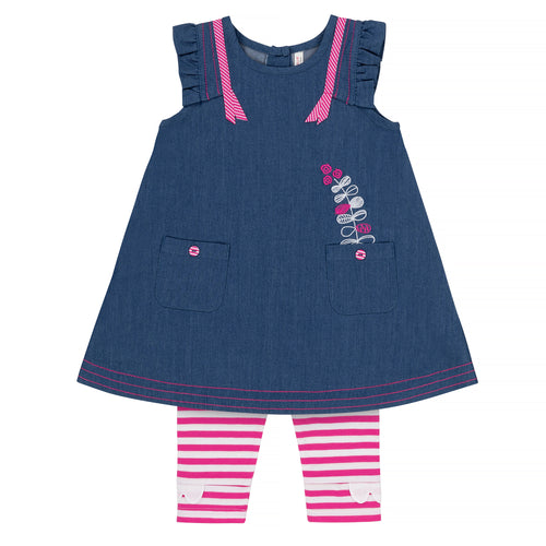 Girls Blue Dress & Fuchsia Striped Capri Legging Set