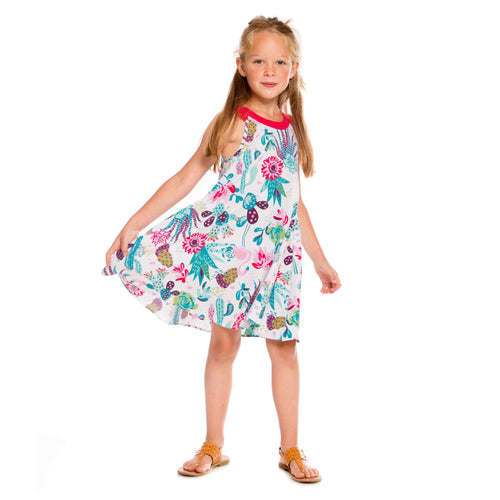 Girls Cactus Printed Flare Cotton Dress With Tassels