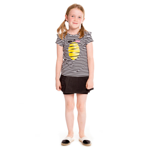 Girls Black and White Striped with Lemon Organic Cotton T-Shirt