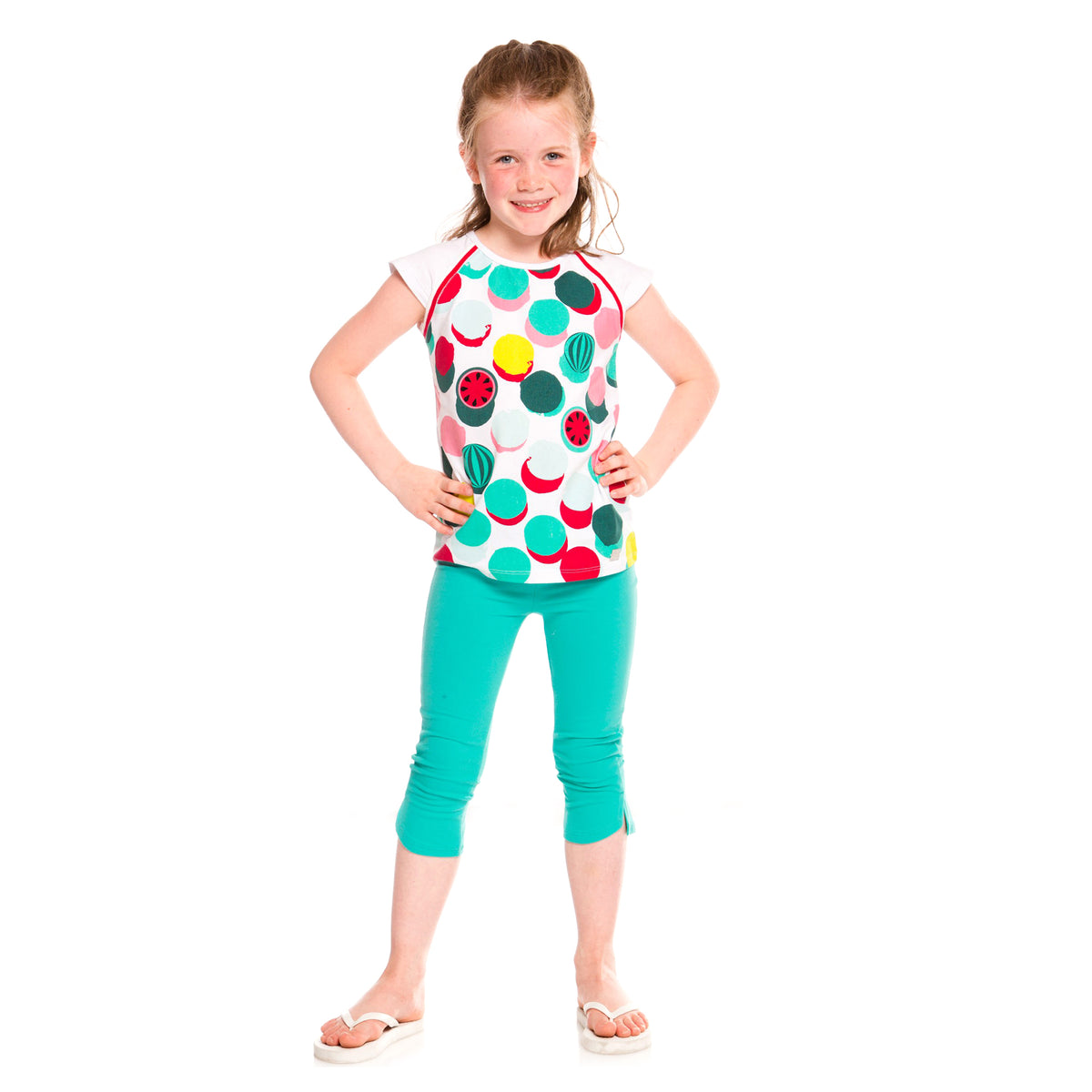 Girls White T-Shirt With Watermelon Polka Dots