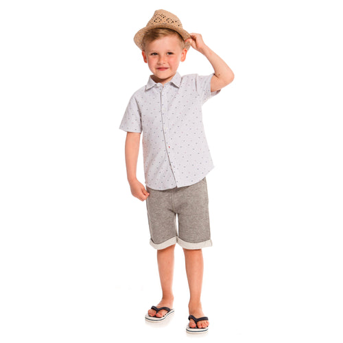 Boys Short Sleeved Shirt with Fishbone Print