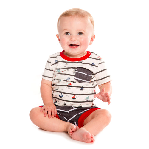 Sail Boats Boys Printed T-Shirt & Short Set
