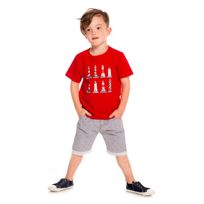 Striped Short With Printed Fishbones For Boys