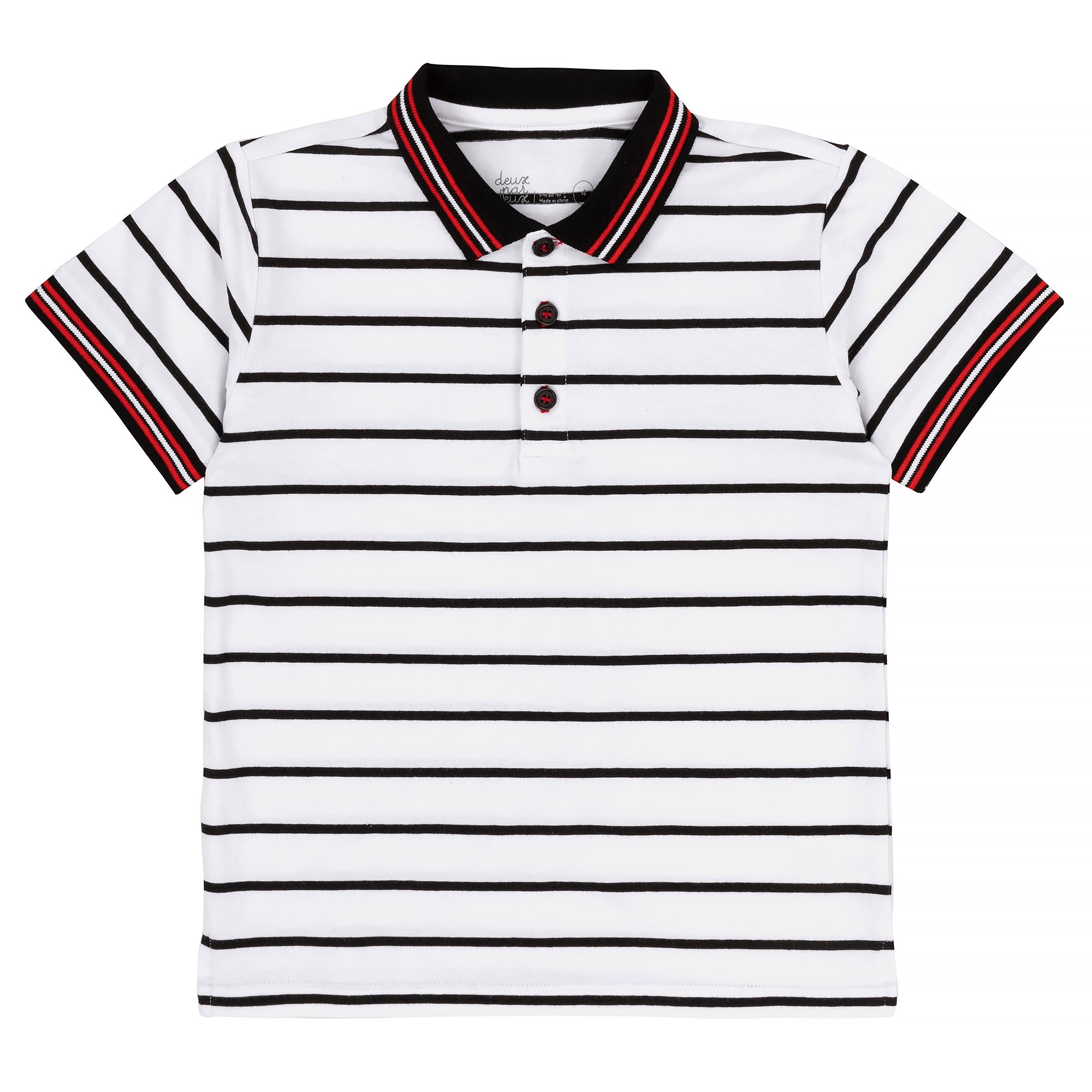 Boys Black and White Striped Polo Shirt