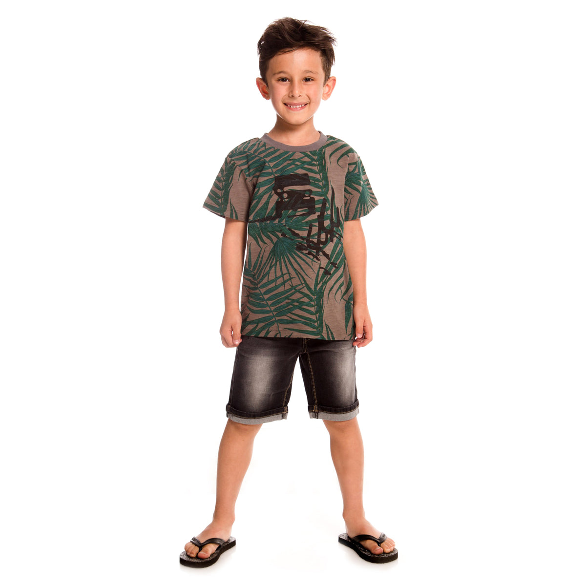 Boys Charcoal T-Shirt With Palm Tree Print