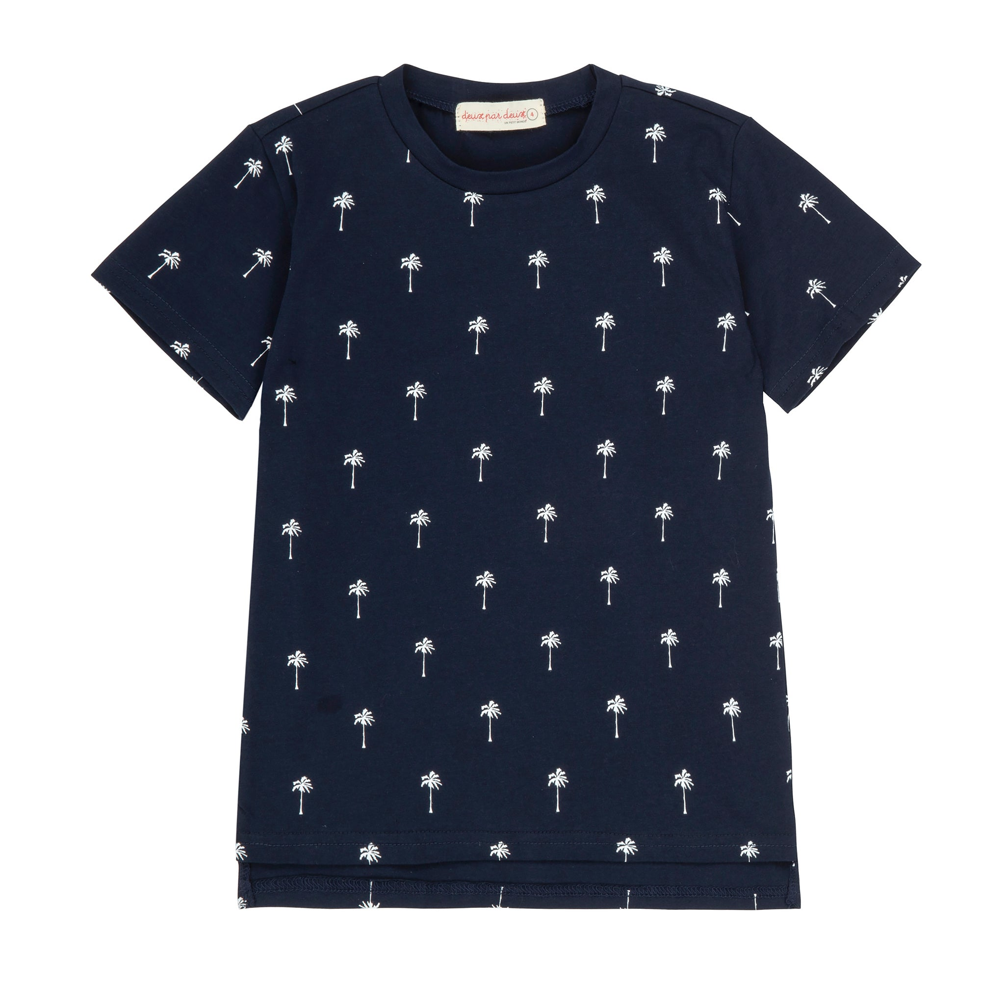 Boys Navy T-Shirt With Palm Tree Print