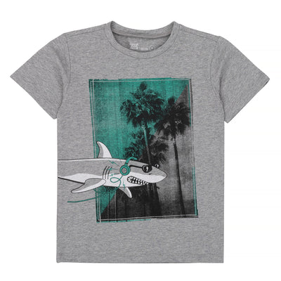 Boys Grey Mix T-Shirt With Shark Print