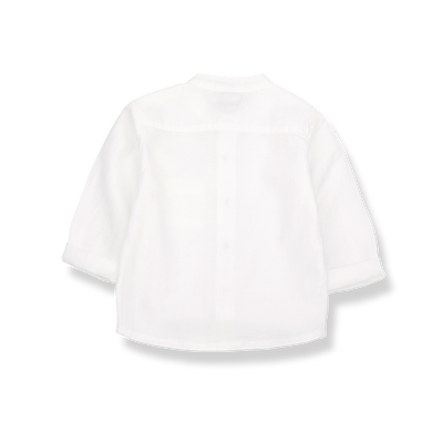 Baby Boys Textured Voile White Shirt