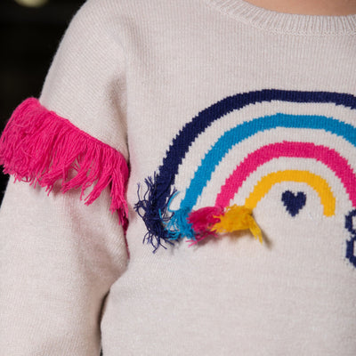 Girls Knitted Rainbow Sweater Top
