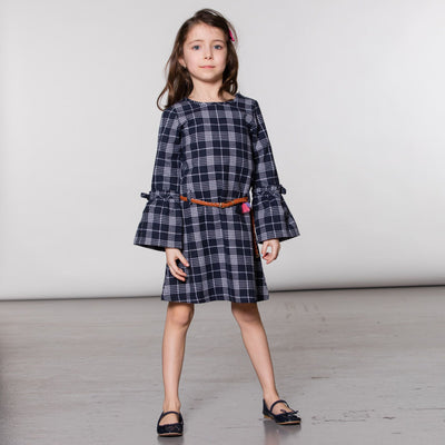 Girls Navy Plaid Dress with Belt