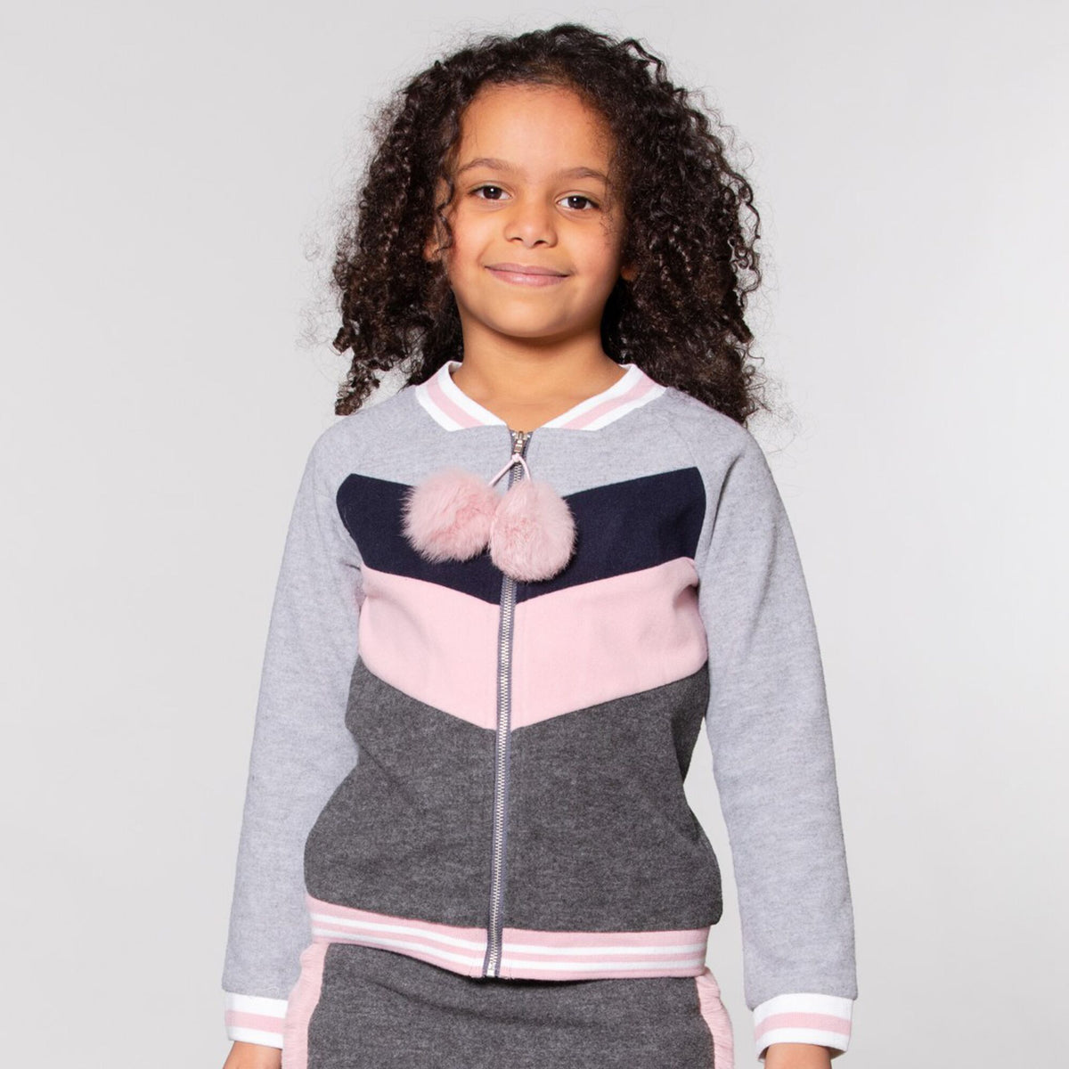 Girls Grey Felt Bomber Cardigan
