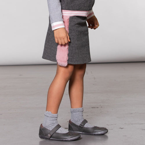 Girls Felt Skirt with Faux Fur