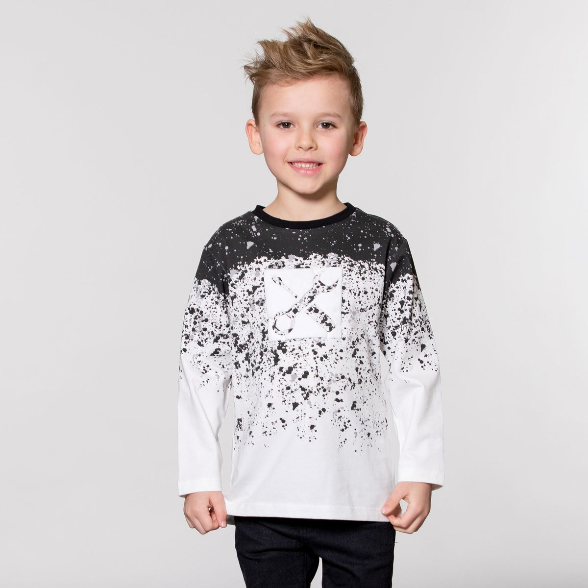 Boys Long Sleeve Black and White Top