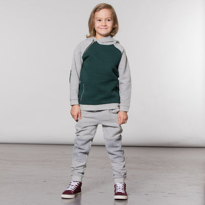 Boys Hoodie with Patches and Side Zipper