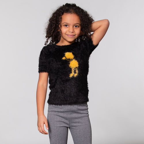 Girls Fuzzy Knit Short Sleeve Sweater
