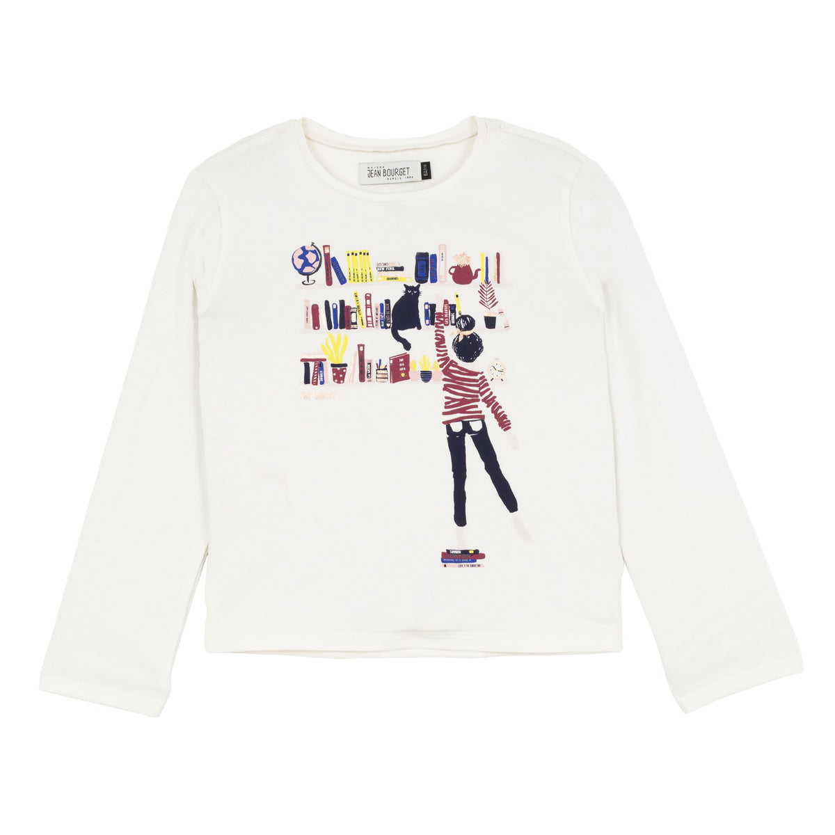 Jean Bourget ivory cotton-jersey long-sleeved tee is printed with a graphic and colorful pattern inspired by the bookstore universe.