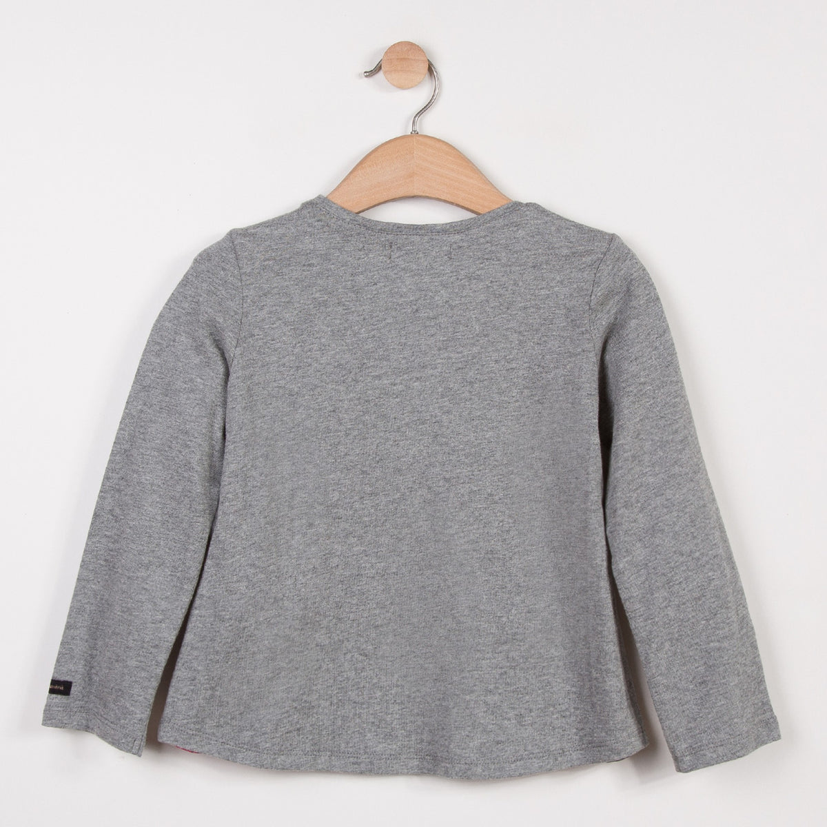 Long sleeved T-shirt for Girls in marl jersey with an applied motif of girl. Round neck with trim, fastened by pearly press studs at the shoulder. By Catimini.