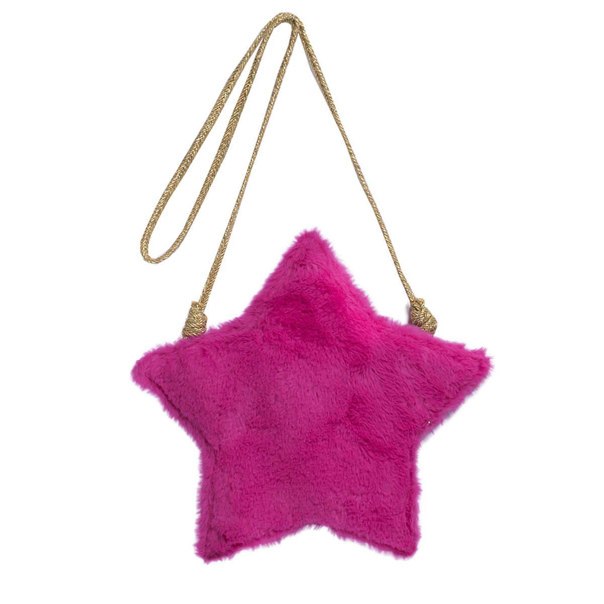Girls fucisa pink faux fur long strapped purse in the shape of a star. By Imoga.