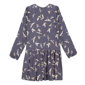 Girls Multicolored Bird Printed Grey Dress