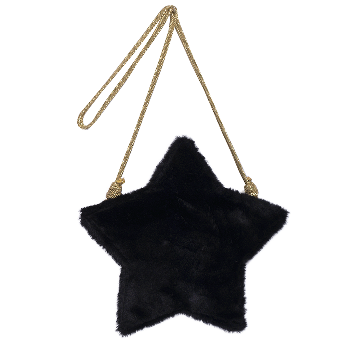 Black faux fur girls purse in the shape of a star with zipper in the back. Strap is made of gold fabric and designed by Imoga.