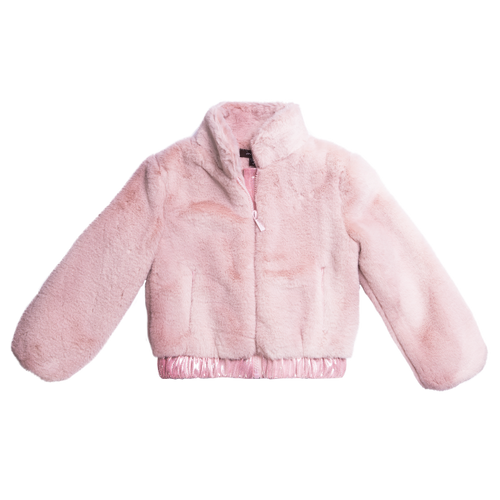 Baby pink faux fur jacket with front zipper for girls by Imoga.