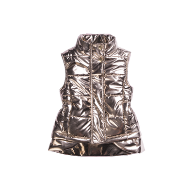 Girls high low puffer vest with front pockets in shiny gold deigned by Imoga.