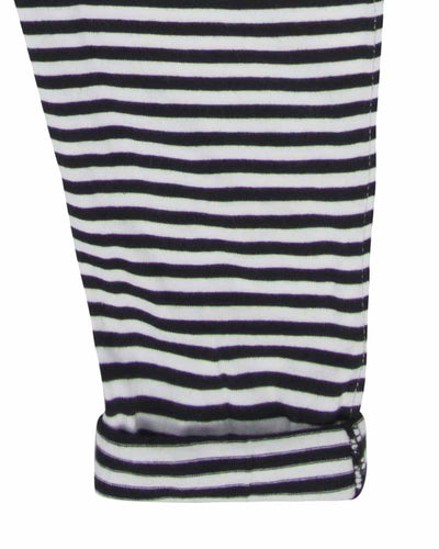 Unisex organic cotton black and white striped dungaree by TurtleDove London.