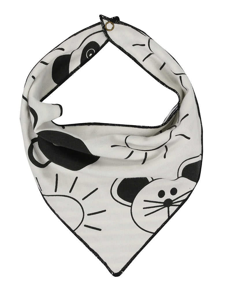 Organic cotton reversible bib in black and white mouse print by TurtleDove London.