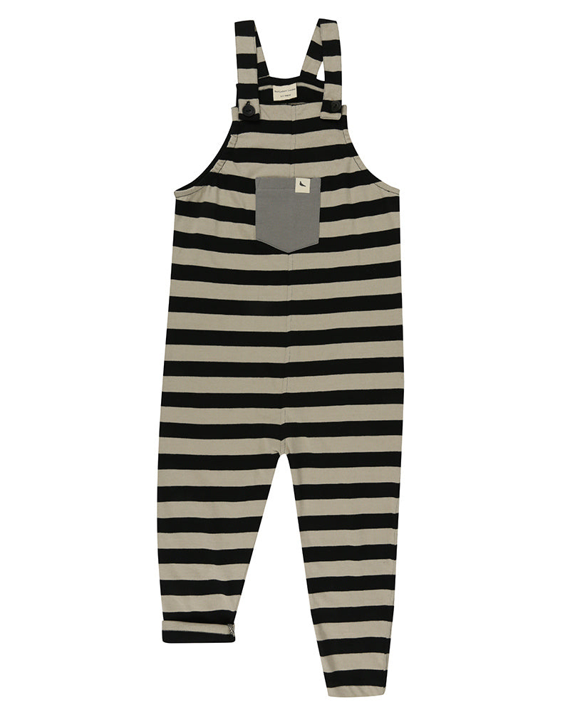 Boys And Girls Black Wide Stripe Dungaree