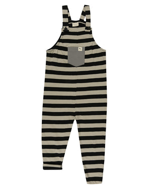 Unisex organic cotton black and nude striped sleeveless dungaree by TurtleDove London.