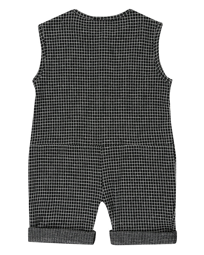 Baby Girl or Boy Black and White Grid Jersey Shortie